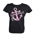 Ladies T shirt - Pink Camo Anchor - Newfoundland - Black