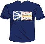 Mens -  T Shirt  - Vintage Newfoundland  Flag - Navy